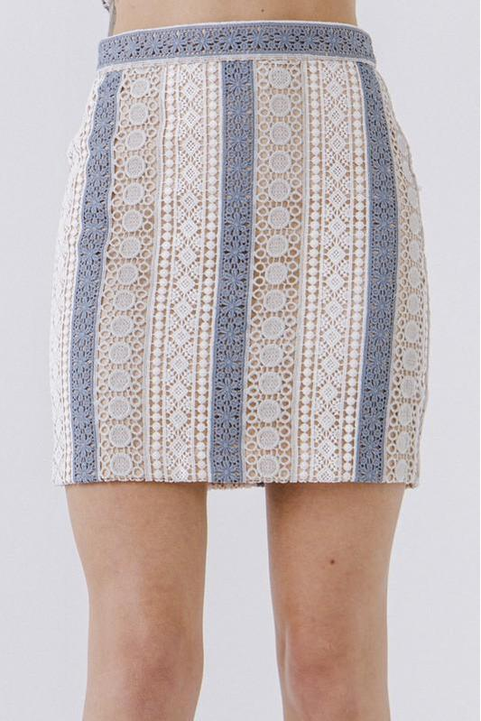 Blue & White Crochet Skirt
