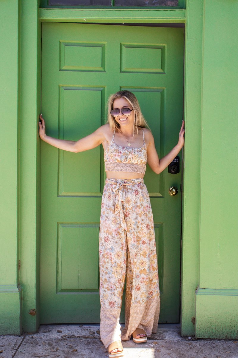 Retro Floral Wide Leg Pants